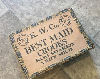 "Vintage Cigar Box (dimensions 8.5""x5.5x2"")"