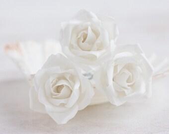 71 White flower hair pins, Hair accessories, Rose hair pins, Hair clips roses, Hair barrettes flowers Rose barrette Wedding hair accessories