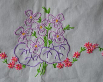 Purple Pansies on Vintage Hand Embroidered Dresser Scarf Lovely Crochet Edge 34 x 17 Inches