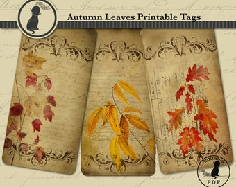 Autumn Leaves Printable Tags, Editable Tags, Fall Tags, Colored Leaves Tags, Vintage Tags, Instant Download, Autumn Tags