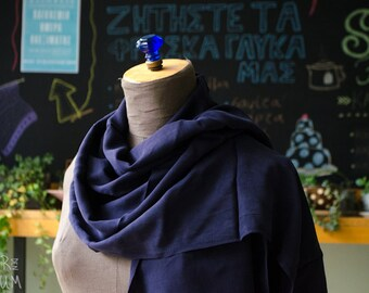 Dorin Frankfurt Silk Scarf - vintage 1990s purple and black scarf - couture - minimalist, modern