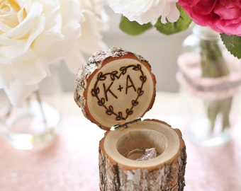 Personalized Rustic Wood Ring Bearer Pillow Box Alternative Tree Stump Laurel Wreath QUICK shipping available (NVMHDAY0283)