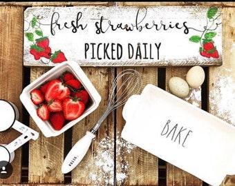 Fresh picked strawberry barnwood sign