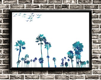 Palm Tree Print | Palm Tree Watercolor | Download | Palm Tree Poster | Palm Tree Art Landscape | Palm Tree Wall Art | Palm Tree Printable