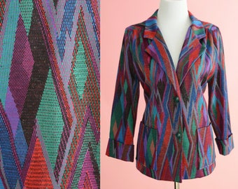 Vintage Blazer, Travables Of Dallas // 1970s, 1980s, Jacket, Outerwear, Multi Color, Geometric Print, Women Size Medium Large