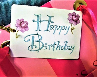 Gift Tag Happy Birthday Girl Pink Roses Hand Painted Ceramic Porcelain blm