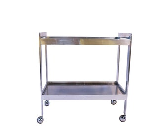 Mid Century Chrome Smoked Glass Two Tier Rolling Bar Cart