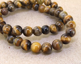 "One Full Strand -- Charm AB  Yellow Tiger Eye Stone Gemstone Beads--- 15"" in length"