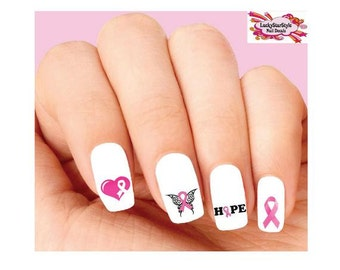 Waterslide Nail Decals Set of 20 -  Pink Breast Cancer Awareness Ribbon, Heart, Butterfly & Hope Assorted