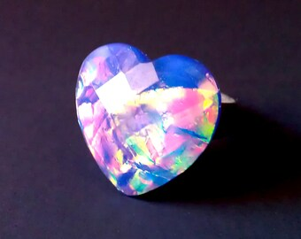 Opalescent Galaxy Heart Ring - Available In Lavender Or Green Fire - Adjustable Silver Tone Band - Magical Holographic Ultra Violet