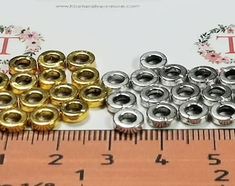 20 Gr per pack 6x2mm 4mm diameter Rondelle Beads Antique Gold or Silver Lead free Pewter