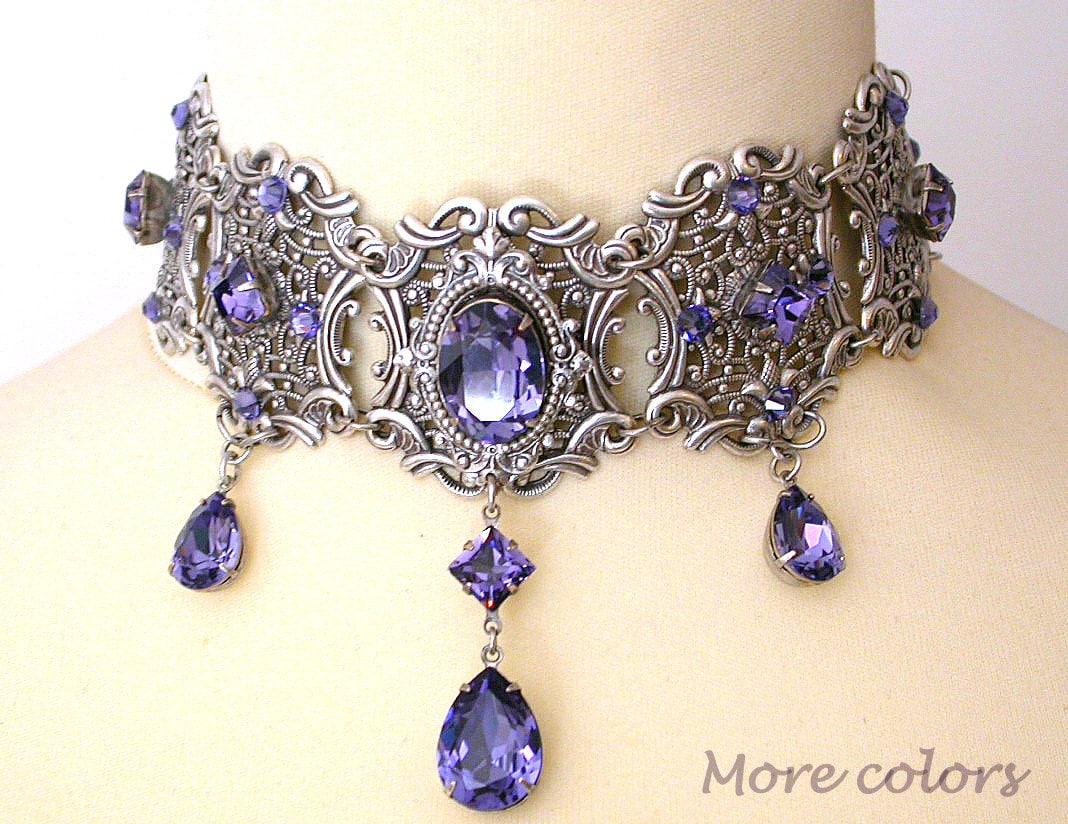 Tanzanite Swarovski Crystal Choker Victorian Gothic Bridal