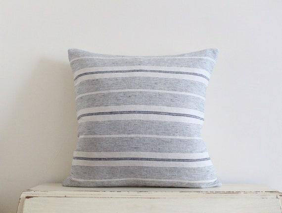 "Grey blue stripe 100% linen pillow / cushion cover 20"" x 20"""
