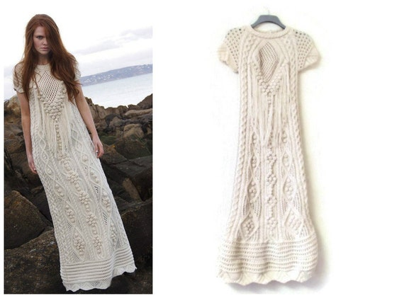 KNIT Aran Wedding DRESS. Wedding Dress.Maxi Dress.Unique