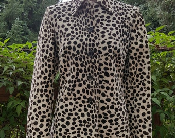 Prada Animal Print Pony Hair Leather Blazer Jacket Size 42/ US 6-8 Small