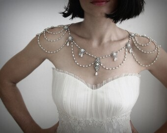 Necklace For The Shoulders,Backdrop Necklace,1920,Pearls,Rhinestone,Silver,Bridal Wedding Jewelry,Victorian,Efrat Davidsohn Gothic Jewelry