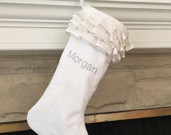 White Linen Personalized Christmas Stocking Embroidered Ruffle Monogram