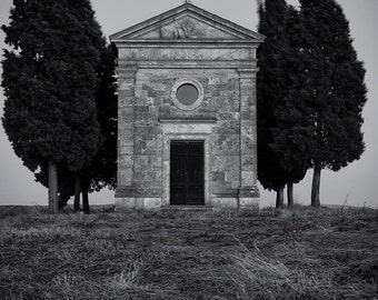 The Lone Chapel, Tuscany, Italy, Black and White, Cypress Trees, Tuscan, Landscape, Val d'Orcia - Travel Photography, Print, Wall Art