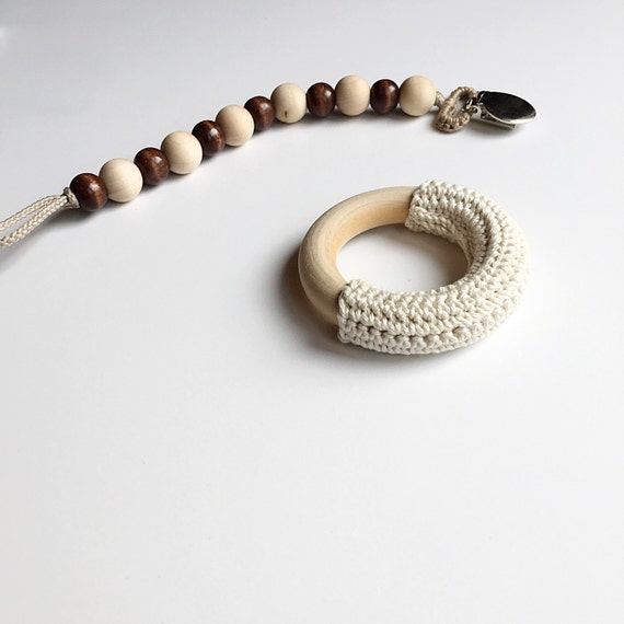 Fawn Classic --  NomiLu Classic Stained Beaded Pacifier Clip (Ring Sold Separately)