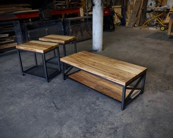 Wormy Maple and Steel Modern Industrial Coffee Table and End Tables