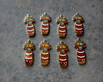 Kachina Doll Charm- Vintage Hopi Kachina Doll Charm-  Enamel- Gold Plated- Set of 8