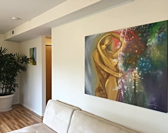 Large Abstract Couple Painting, Abstract Romantic Painting, Romantic Kiss Oil Painting