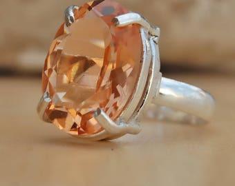 morganite quartz Ring, oval cut morgaite quartz sterling silver ring, peach color morganite Solid silver ring Jewelry