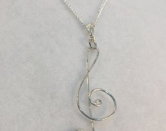 Treble Clef Necklace, Sterling Silver, Add Heart Bead, Add Flower Bead, Treble Clef Pendant, Music Lover, Music Symbol, Music Note