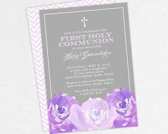 First Communion Invitation, First Holy Communion Invitation, Religious, Print, PDF, DIY Communion Invite, Watercolor Flowers, Purple, Haley