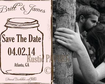 Mason Jar Postcards, Blush save the date, mason jar post cards