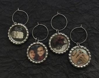 Custom Personalized Photo Bottle Cap Wine Charms. Set of 4. Silver Tone. Use your own photos.