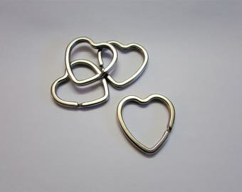 Set of (10) Heart Split Rings, Heart Keyrings, Heart Keyring, Keyrings, Keyring, Heart Split Ring, Heart Keychain, Heart Split Ring, Keyring