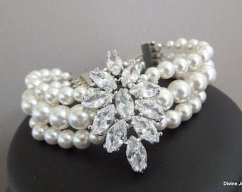 crystal Bracelet bridal pearl bracelet cubic zirconia Statement Bridal Bracelet Bridal Cuff Wedding Rhinestone Bracelet vintage style GENEVA