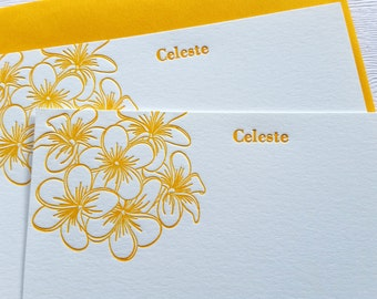Plumeria Personalized Letterpress Stationery Honey Gold Frangipani Flowers