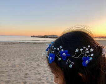 Blue Floral Headpiece