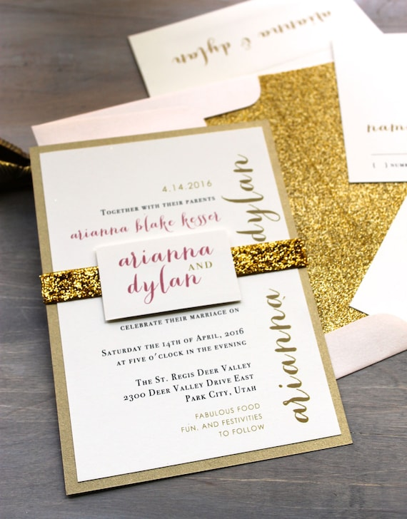 Glitter invitations wedding invitations gold wedding junglespirit Choice Image