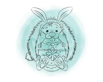 Easter Hedgehog holding Egg- Digital Stamp Art/ KopyKake Image- SP64- HEDGIEBUN