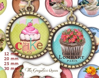 80% Off Spring Sale 12 mm, 20mm, 30 mm, 1 inch Shabby Chic Digital Collage Sheet Circle Download Round Circles Printable Images Jewelry maki