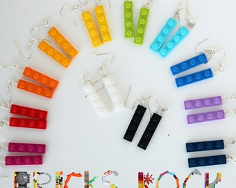 Earrings made with LEGO® Plates - Rainbow of Colors - 1x4 LEGO® Plate - Jewelry made with LEGO® pieces