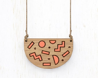 Shapeshifter - Peach Geometric Shapes Wood Necklace - laser cut etched - womens ladies jewellery jewelry - nature blackwood - 80s