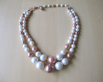 50's Pink, Purple & White Mixed Pearl Double Strand Graduated Necklace