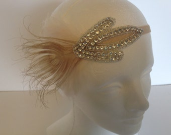 IVORY Feather headband, 1920s Fascinator Daisy Buchanan Flapper Headdress, Speakeasy 1920s Head piece, Roaring 20s Hair Piece