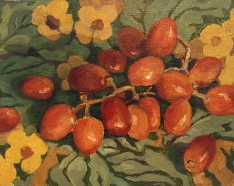 Small original painting by Dotty Hawthorne of grapes on flowered cloth