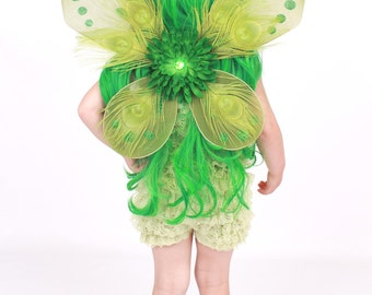 READY TO SHIP - Precious Peacock Wings - Green - Costume Accessory - Fits toddler to adult - Cutie Patootie Designz