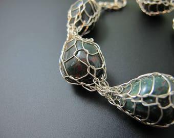 Captive Bloodstone Bracelet in Fine and Sterling Silver