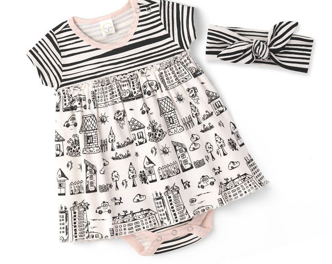Baby Skirted Bodysuit Dress, Newborn Girl Outfit, Baby Girl Skirted Romper, Newborn Girl Dress, Infant Girl Dress, Baby Town Outfit TesaBabe