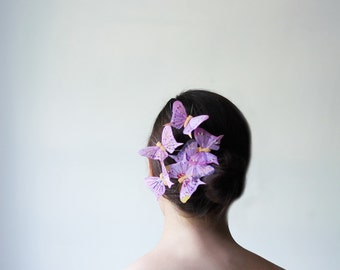 Pastel Purple Butterfly Barrette - lavender, violet, fairy, butterfly wedding