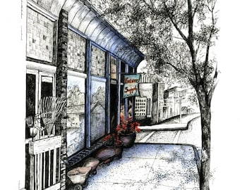 """Hardware Store, Farmers Supply, Floyd streetscape, Pen & Ink and Watercolor, """"Hardware Store at the Light"""" (Reproduction)"""