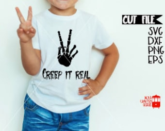 Trendy Boy Halloween Svg Cut File - Creep It Real Svg - Boys Halloween Svg - Skeleton Svg Cut File - Skeleton Peace Sign Svg Cut File