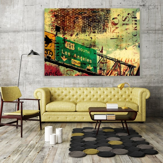 ORL-2233 101 South. Large Cityscape Canvas Art Los Angeles